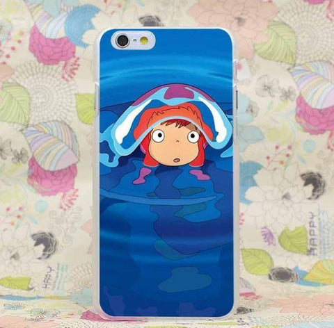 Ponyo Jelly Fish Cute Kid Ghibli Anime Japan Design iPhone 4 5 6 7 Plus Case