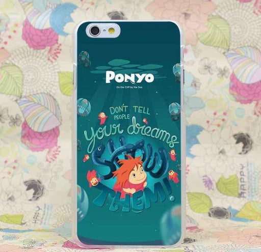 Ponyo Show Your Dream Cool Slogan Ghibi Anime iPhone 4 5 6 7 Plus Case