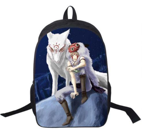Princess Mononoke Hime Wolf Fan Art School Bag Backpack