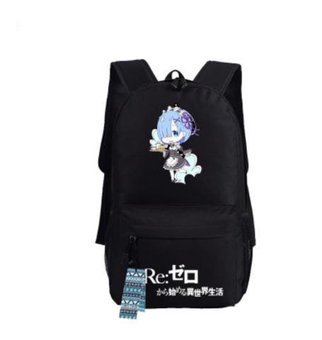Re Zero Rem Maid Cute Blue Hair Serve Food Chibi Style Cool Backpack - Konoha Stuff - 1