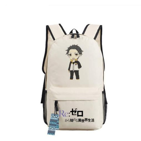 Re Zero Subaru Natsuki Energy Cheer Chibi Style Awesome Design Backpack - Konoha Stuff