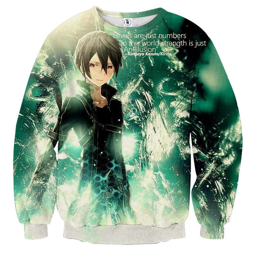 SAO Kirigaya Kazuto Kirito Black Swordsman Hero Green Sweater
