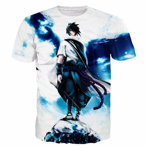 Sasuke Uchiha Tie Dye Style Naruto Abstract Blue Cool 3D T-Shirt - Konoha Stuff