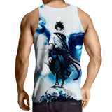 Sasuke Uchiha Tie Dye Style Naruto Abstract Blue Cool 3D Tank Top