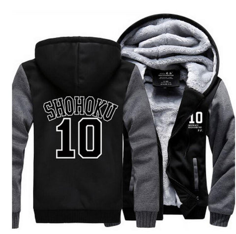 Slam Dunk Manga Basket Shohoku High School 10 Grey Black Hooded Jacket - Konoha Stuff