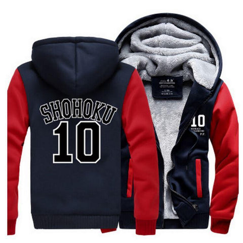 Slam Dunk Manga Basket Shohoku High School 10 Navy Red Hooded Jacket - Konoha Stuff