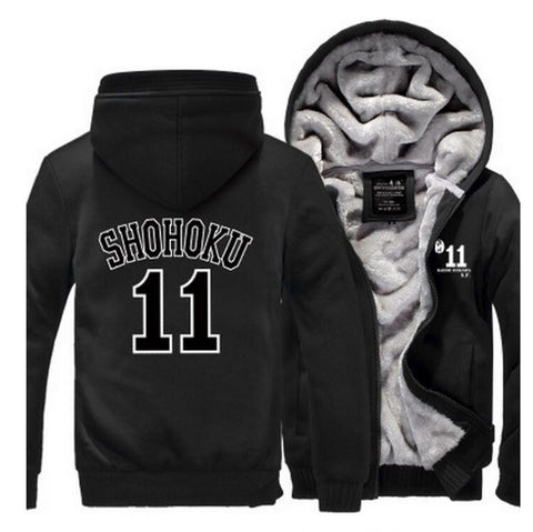 Slam Dunk Manga Basket Shohoku High School 11 Black Hooded Jacket - Konoha Stuff