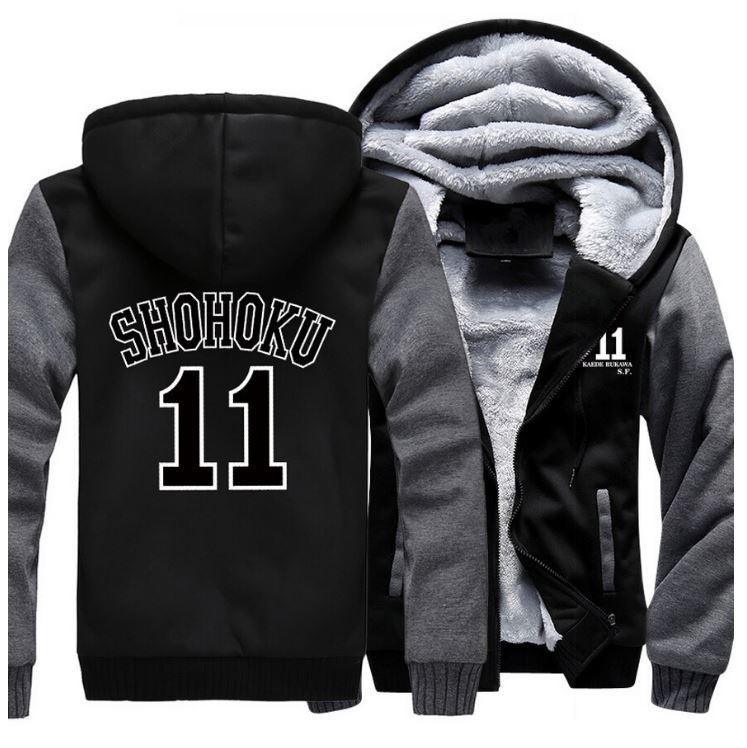 Slam Dunk Manga Basket Shohoku High School 11 Grey Black Hooded Jacket - Konoha Stuff