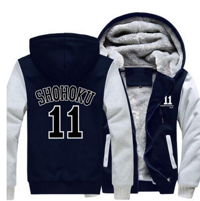 Slam Dunk Manga Basket Shohoku High School 11 Navy White Hooded Jacket - Konoha Stuff