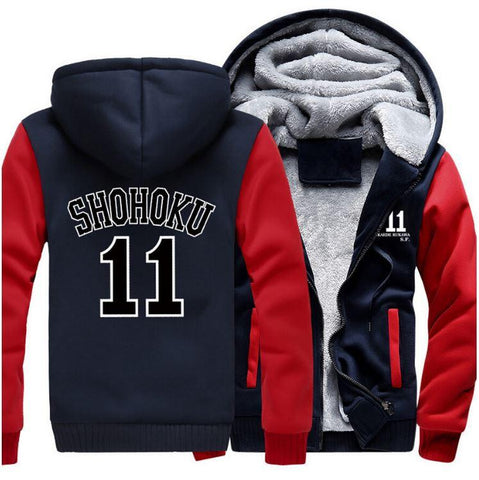 Slam Dunk Manga Basket Shohoku High School 11 Red Navy Hooded Jacket - Konoha Stuff