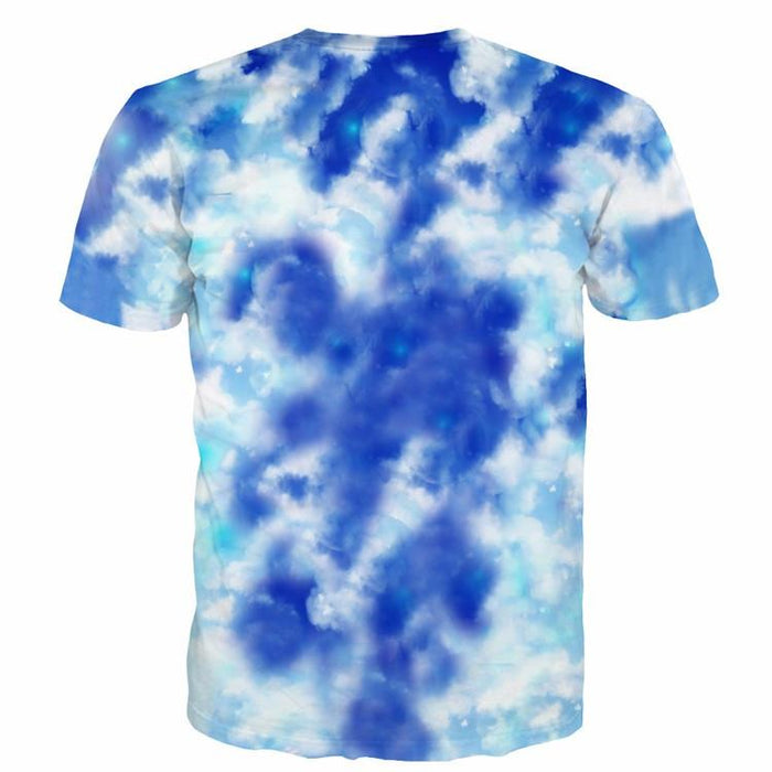 Spirited Away and Dragon Flying in the Sky Clouds Blue Print T-Shirt - Konoha Stuff