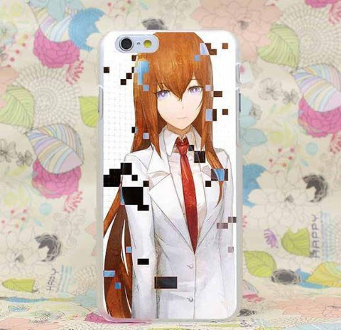 Steins Gate Makise Kurisu Cool Face Student Uniform iPhone 4 5 6 7 Plus Case