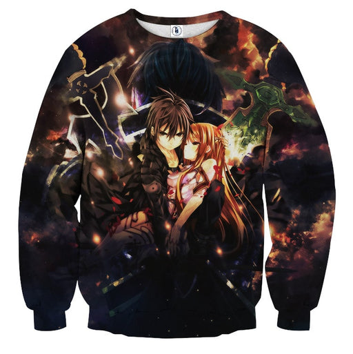Sword Art Online Kirito Asuna Powerful Couple Black Sweater