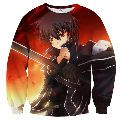 Sword Art Online Kirito Killer Intent Red Eyes Orange Sweater