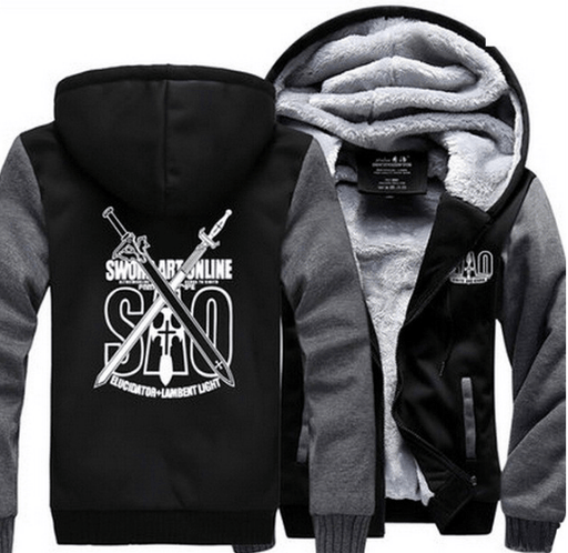Sword Art Online SAO Elucidator Lambent Light Swords Gray Black Hooded Jacket - Konoha Stuff