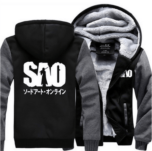 Sword Art Online SAO Logo Kanji Winter Gray Black Vest Hooded Jacket - Konoha Stuff