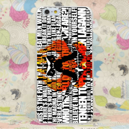 Team Dai-Gurren Mecha Robot Text Back Ground iPhone 4 5 6 7 Plus Case
