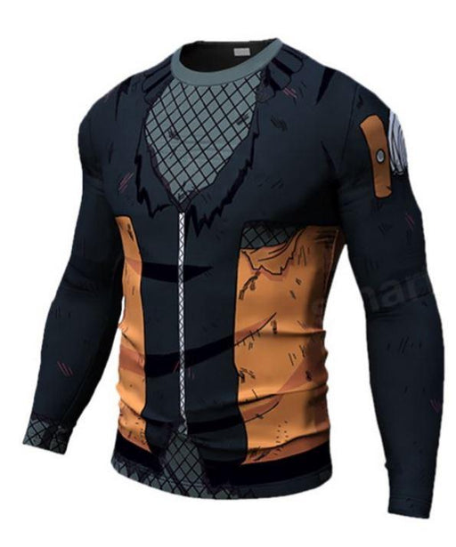 Teen Naruto Damaged 3D Costume Cosplay Compression Workout Long Sleeves T-Shirt - Konoha Stuff