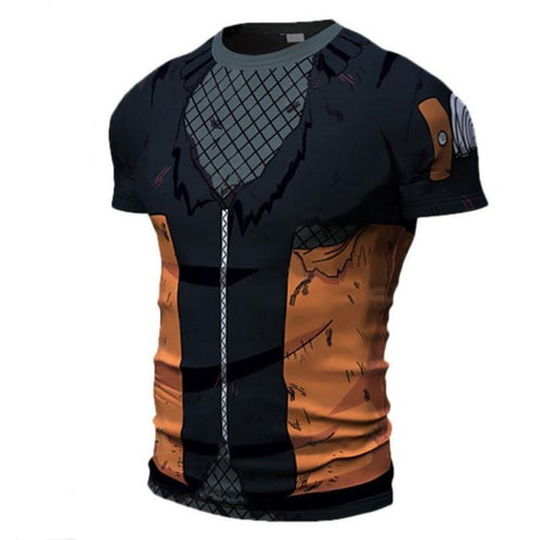Teen Naruto Damaged 3D Costume Cosplay Compression Workout T-shirt - Konoha Stuff
