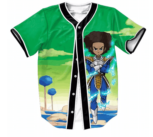 The Boondocks Huey Freeman Wearing Saiyan Armor Hip Hop Baseball Jersey - Saiyan Stuff