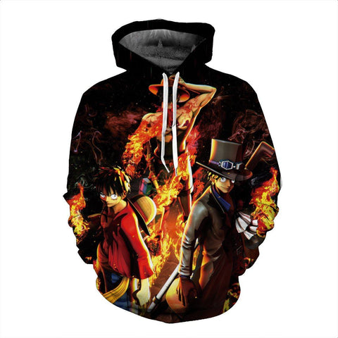 Three Buddies Fire Fist Ace Luffy and Black Leg Sabo Fashionable Hoodie - Konoha Stuff