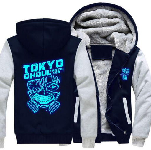 Tokyo Ghoul Ken Kaneki Blue Luminous Coat 4 Colors Zipper Hooded Jacket - Konoha Stuff