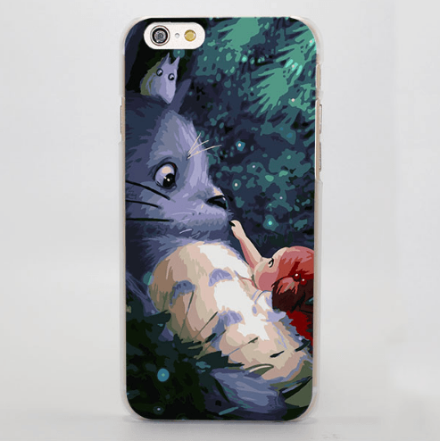 Totoro And Mei Kusakabe Cute Painting iPhone 4 5 6 7 Plus Case - Konoha Stuff