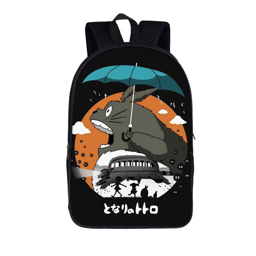 Totoro Catbus And Kusakabe Sisters Silhouette Black Backpack
