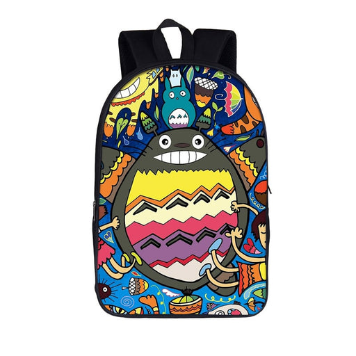 Totoro Colorful Unique Vibrant Fan Art Design Backpack