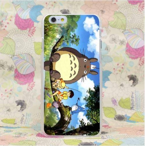 Totoro Ghibli Anime Mei Satsuki Fishing Vibrant Color Case for iPhone 4 5 6 7 Plus