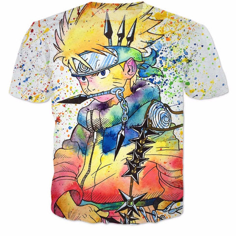 Unique Naruto Painting Graffiti Style Full Print 3D T-Shirt - Konoha Stuff