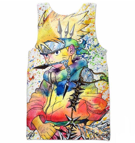 Unique Naruto Painting Graffiti Style Full Print 3D Tank Top - Konoha Stuff