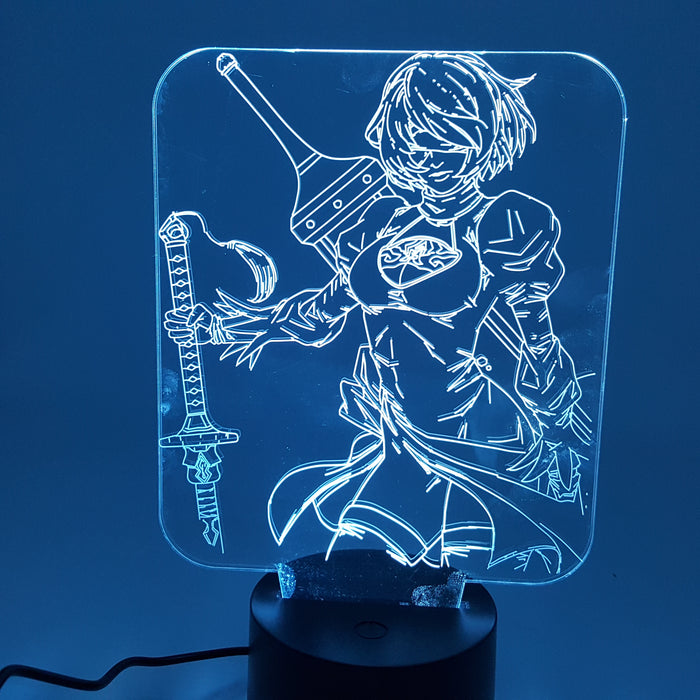 Nier Automata YoRHa No. 2 Type B 2B Color Changing 3D Illusion Acrylic Lamp