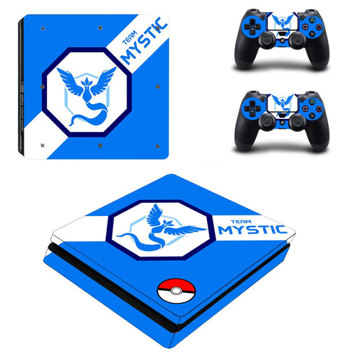 Pokemon Team Mystic Symbol Blue Background Dope PS4 Slim Skin