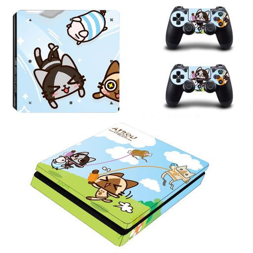 Monster Hunter Aikou Cute Feline Chibi Colorful Design PS4 Slim Skin