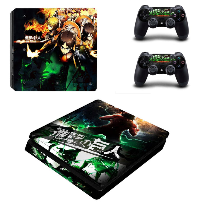 Attack On Titan Anime Eren Team Fighting Cool PS4 Slim Skin
