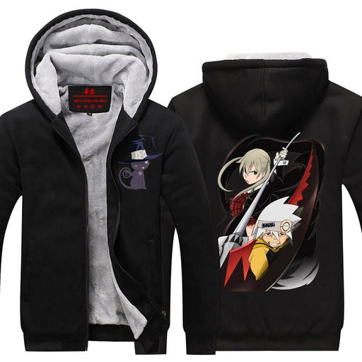 Manga Series Soul Eater Theme Amazing Printed Black Hooded Jacket
