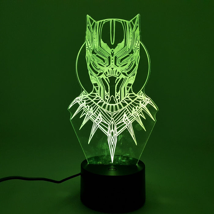 Marvel Black Panther Wakanda Warrior Color Changing 3D Illusion Acrylic Lamp