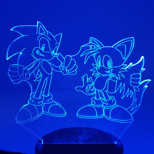Sonic the Hedgehog & Tails Color Changing 3D Illusion Acrylic Lamp
