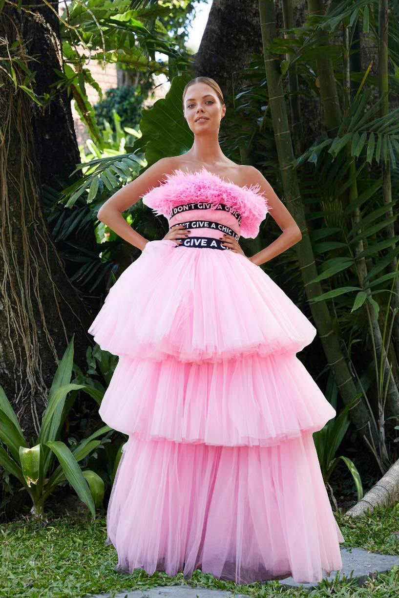 Pink Long Feather Tulle Dress - House of Mua Mua