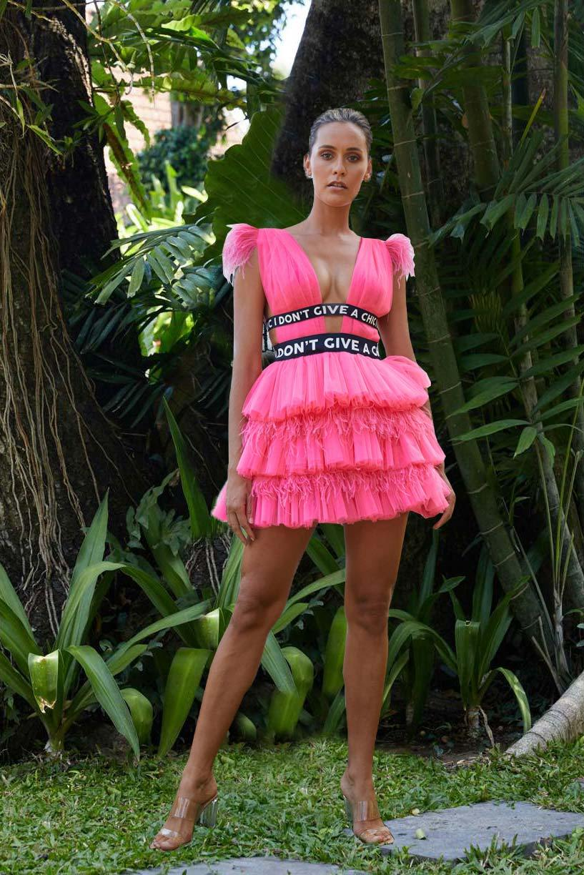 Fuchsia Tulle Mini Dress - House of Mua Mua