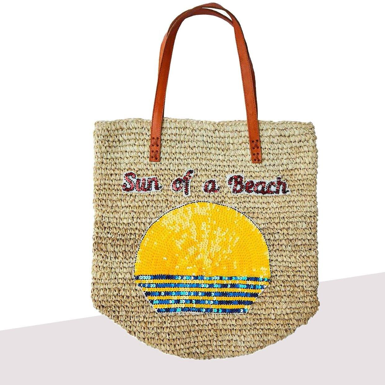 Raffia Market Bag Sun Of A Beach - House of Mua Mua