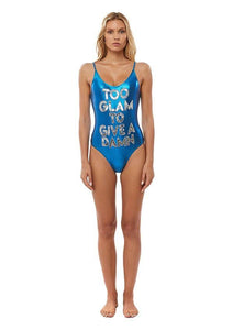 Hand-beaded one piece swimsuit