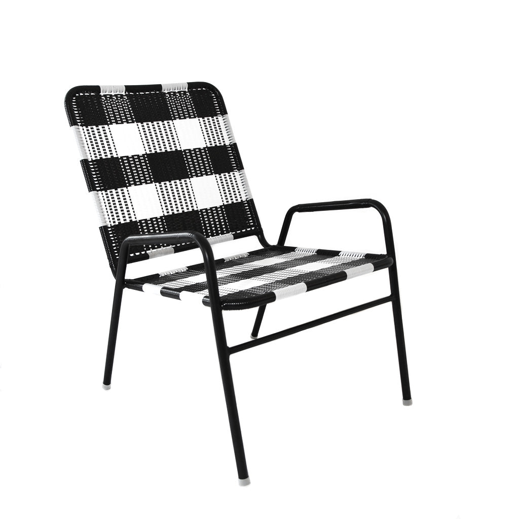*WOVEN CHAIR BLACK WHITE* Handwoven metal chair