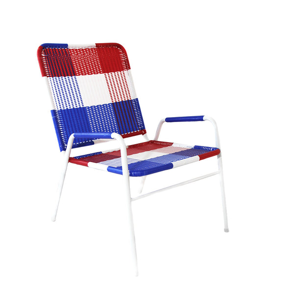 *WOVEN CHAIR BLUE WHITE RED* Handwoven metal chair