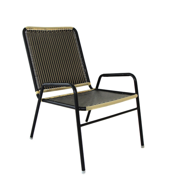 *WOVEN CHAIR GOLD BLACK* Handwoven metal chair