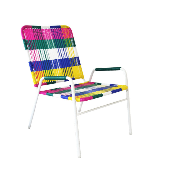 *WOVEN CHAIR WHITE MULTICOLOUR* Handwoven metal chair