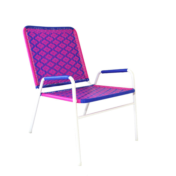 *WOVEN CHAIR WHITE BLUE PINK* Handwoven metal chair