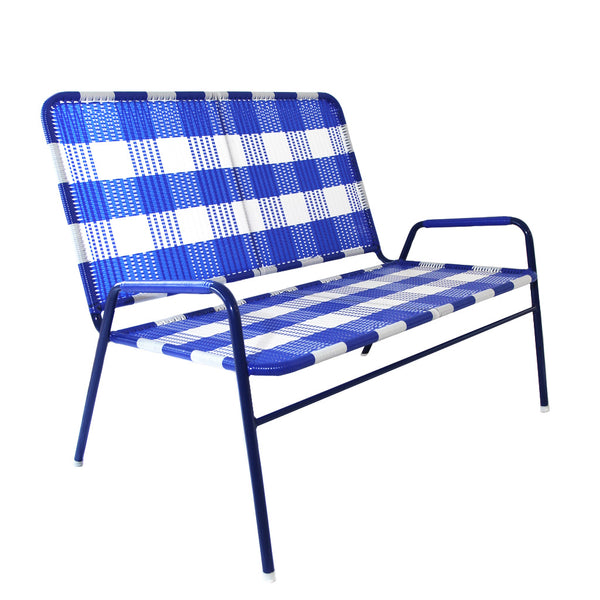 *WOVEN BENCH WHITE BLUE * Handwoven metal bench