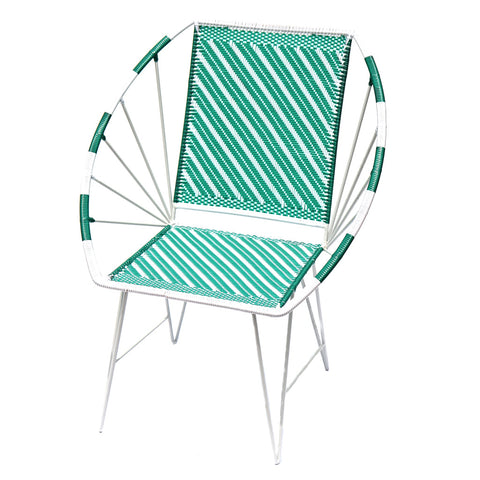 *WOVEN CHAIR EMERALD* Handwoven metal chair